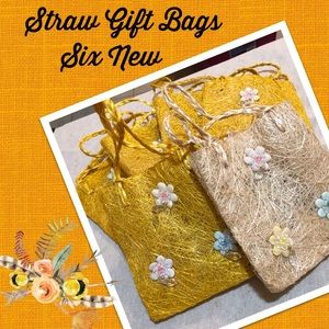 Other - Six New Sparkling Straw Gift Bags